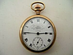 THOMAS RUSSELL & SON POCKET WATCH SWISS GOLD PLATED 20 YEAR CASE RUNNING WELL