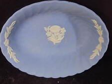 Wedgwood Jasperware Blue Oblong Bowl Floral Design