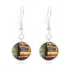 Vintage Book Art Tibet Silver Dome Photo 16MM Glass Cabochon Long Earrings #531