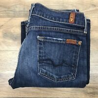 Seven 7 For All Mankind Womens 26 x 31 Distressed Jeans Blue Bootcut