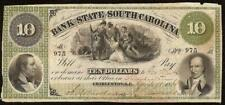 1861 $10 DOLLAR CHARLEST SOUTH CAROLINA BANK NOTE LARGE CURRENCY OLD PAPER MONEY