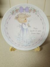 Precious Moments plate Mother's Day Gift-Mom,You'Re A Wish Come True With Stand