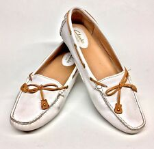 Size 7 M CLARKS Dunbar Racer White Loafer Slip On Womens Shoes