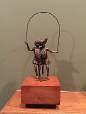 Signed Curtis Jere Bronze Sculpture 2 Girls Skipping Jumping Rope with Wood Base