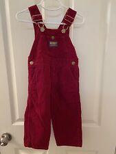 Oshkosh B'gosh Girls Vintage Burgundy Red Corduroy Overalls Vestbak Size 3T