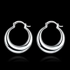Fashion 925 Silver plated Jewelry Hollow Hoop Earrings For Women E712