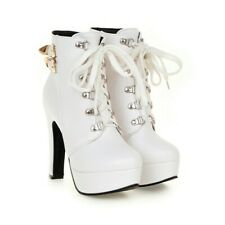 Womens Strappy Ankle Boots Round Toe High Heel Lace Up Casual Platform Shoes