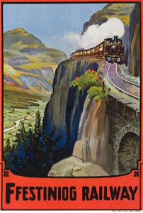 VINTAGE Train POSTER Ffestiniog Railway Blaenau Station N. Wales Art PRINT A3 A4