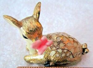 """VNTG TRINKET BOX BY MONET~DATED 2012 FAWN W/BUTTERFLY ON HIS NOSE 2""""X1.5"""" VGC"""