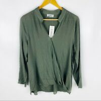 ee:some Womens Small Boutique Green V-Neck Wrap Front Top