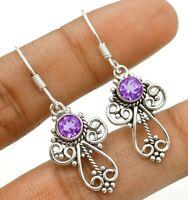 Filigree Amethyst 925 Solid Sterling Silver Earrings Jewelry ED30-4