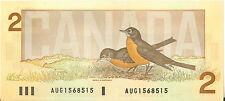 Bank of Canada 1986 $2 Scarce Note Prefix AUG Crow- Bouey UNC