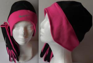 NIKE Women's Running Thermal Beanie/Gloves Set Black/Vivid Pink/Silver Size M