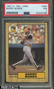 1987 O-PEE-CHEE OPC #320 Barry Bonds Pittsburgh Pirates RC Rookie PSA 7 NM