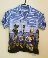 Uluwatu Mens Hawaiian Shirt Surf Boards Palm Trees Blue Size Large L