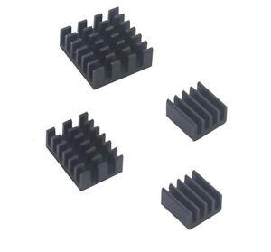 Raspberry Pi 4 Aluminium Kühlkörper Schwarz Kühler Set mit Klebefolie