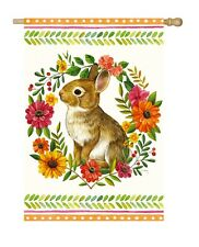 Woodland Wonder Bunny Rabbit & Floral Satin Reflections House Flag