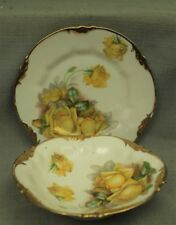 vtg old antique Prussia bowl and saucer plate set ES 1811 yellow rose flowers