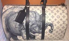 Auth Louis Vuitton White Elephant Savane Safari Chapman Brothers Keepall 45 L/d
