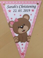 Personalised Cute Bear Girl bunting / party / Christening / Baby Shower