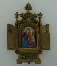 Antique 1900s BRONZE and ENAMEL PAINTING on METAL ORTHODOX ICON Portable Travel