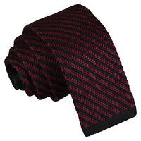 Black Burgundy Mens Skinny Tie Knitted Diagonal Stripe Casual Necktie by DQT