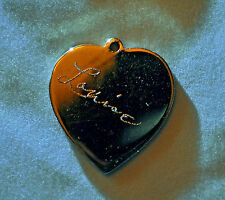 """VINTAGE 10K WHITE GOLD FILLED HEART PENDENT ENGRAVED """"LOUISE"""" & """"X-MAS 1955"""""""