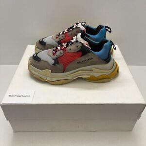 Authentique BALENCIAGA Triple S 42 Men's Sneakers Gray/Red/Blue - 42EU 9US 8UK