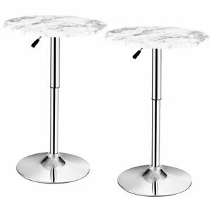 Set of 2 Round Pub Bar Table Height Adjustable 360° Swivel w/ Faux Marble Top