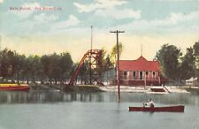 Des Moines IA Long Steep Slide Into the Lake by Bath House~Man in Rowboat c1907