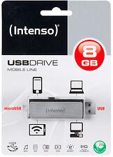 CLE HAUT DE GAMME OTG MICRO+ USB 8 GO Intenso AUTO-PROTEGEE / coulissante alu