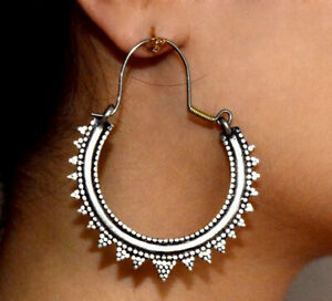 Kuchi Afghan Earrings Crescent Tribal Ethnic Hoop Bohemian Silver Spikes Boho