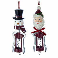 Set/2 Kurt Adler Santa Snowman Wine Bottle Opener Christmas Tree Decor Ornaments