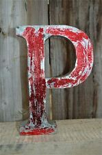 MEDIUM VINTAGE STYLE 3D RED P SHOP SIGN LETTER TIN WALL ART LETTER FONT