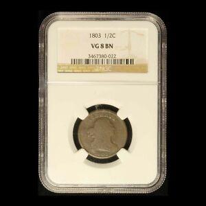 1803 1/2c Draped Bust Half Cent NGC VG8 BN - Free Shipping USA