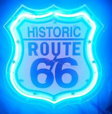 "Historic Route 66 Blue Neon Lite Clock 16"" x 17 3/4"" Man Cave"