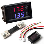 DC 100V 50A 100A LED Dual Display Voltmeter Ammeter Red + Blue Amp Volt Gauge FR