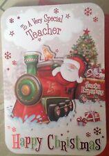 Teacher Christmas Card With 3d Father Christmas