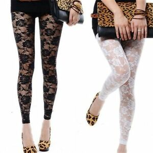 New Sexy Women Lady Rose Lace Through Footless Tights - Black or White