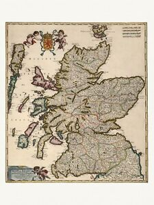 Old Antique Decorative Map of Scotland UK de Wit ca. 1682