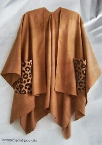 AVON CAMEL CAPE WITH LEOPARD PRINT POCKETS ONE SIZE NEW IN PACK (63)