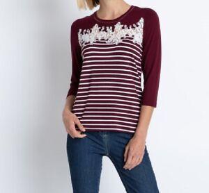 """2.4790 Designer Shirt mit Spitzenverzierung """"burgund"""" Gr. 40"""