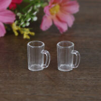 2Pcs 1:12 Dollhouse miniature accessories mini resin wine glass model toys BX