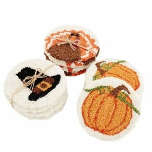 Mud Pie H0 Thanksgiving Hooked Coaster 4pc Set 42500086 Choose Design