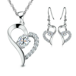 925 Sterling Silver LOVE HEART Chain Charm Pendant Necklace Womens Jewelry Gift