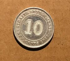 STRAITS SETTLEMENTS - 1927 10 Cents VF Silver - #1