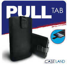 M-BLACK SLEEVE PULL UP TAB SOFT LEATHER POUCH COVER FOR BAUHN 5000H (ALDI)