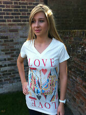 BNWT RETRO ALICE IN WONDERLAND STYLE QUEEN OF HEARTS T-SHIRT/TOP SIZE 8 10 12