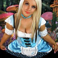 ALICE in Wonderland COSTUME Lovely BLUE Satin BUSTIER Butterfly DRESS Fancy M