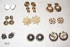 9--VINTAGE--PAIRS OF COSTUME JEWELRY EARRINGS--CLIP ON STYLE--1 1/2 TO 2 INCHES